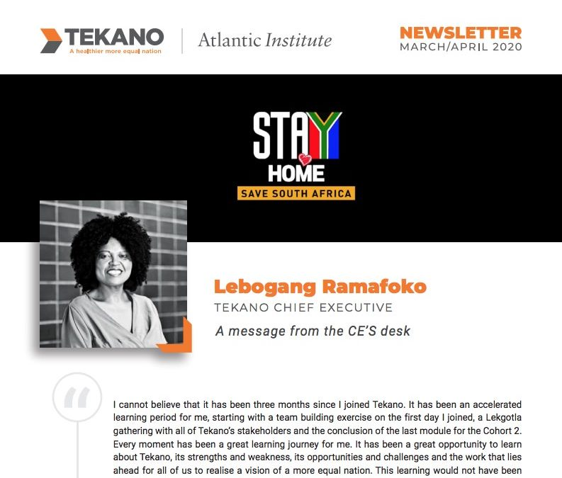 Tekano Newsletter – March/April 2020